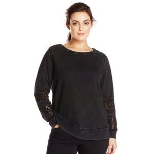 Lucky Brand Black Crochet Sleeve Sweatshirt